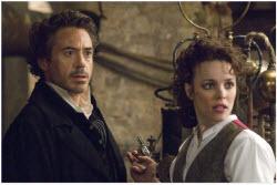 The Great Detective (Robert Downey Jr.) and Irene Adler (Rachel McAdams)